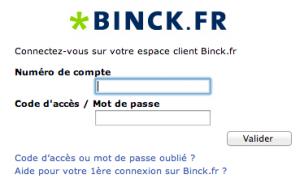 BINCK.FR ESPACE CLIENT